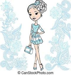 かわいい 女, ベクトル, ファッション, 幸せ