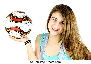かわいい 女, ボール, 微笑, サッカー