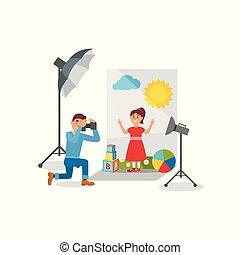 かわいい 女, 中に, 赤いドレス, ∥において∥, 写真, セッション, カメラマン, 作成, 写真, 中に, 写真の スタジオ, ベクトル, イラスト
