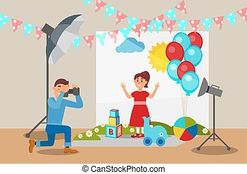 かわいい 女, 中に, 赤いドレス, ポーズを取る, ∥において∥, 写真, セッション, カメラマン, 作成, 写真, 写真の スタジオ, 内部, ∥で∥, 専門家, 装置, ベクトル, イラスト