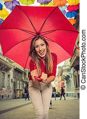 かわいい 女, 傘, 赤