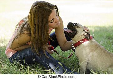 かわいい 女, 公園, 犬, 彼女