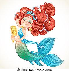 かわいい 女, 前に, mermaid, 鏡