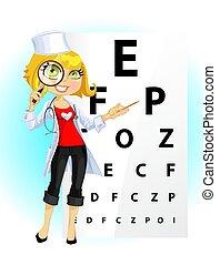 かわいい, 女, -, 医者, 眼科医