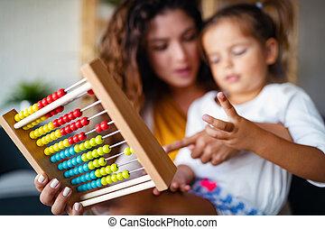 かわいい 女, 子供, そろばん, 遊び, 教育, 母, わずかしか, 早く