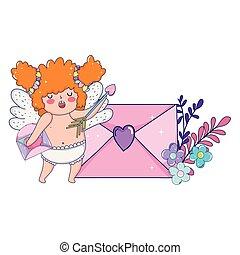 かわいい 女, 封筒, キューピッド, chubby