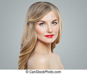 かわいい, 女, 巻き毛, ゆとり, 美容術, 唇, 長い髪, 待遇, 毛, 美顔術, 皮膚, makeup., ブロンド, 赤, 心配