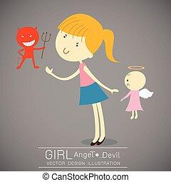 かわいい 女, 悪魔, 赤, 天使