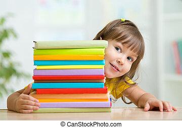 かわいい 女, 本, 子供, 幼稚園児