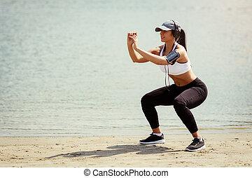 かわいい 女, 浜, 運動
