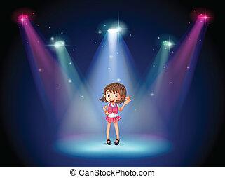 かわいい 女, 若い, ステージ