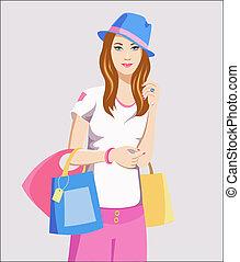 かわいい 女, 買い物袋