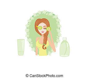 かわいい, 女, 適用, イラスト, ベクトル, moisturizer