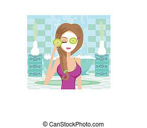 かわいい, 女, 適用, moisturizer