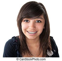 かわいい 女, latino, 微笑, 支柱