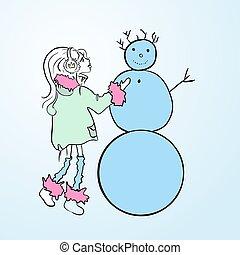 かわいい 女, sculpts, a, snowman., 冬, games., ベクトル, 単純である, illustration.