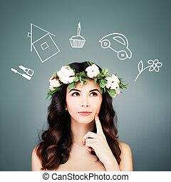 かわいい, 女, things., 選択, 概念, 選択