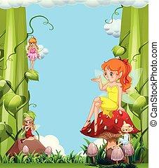 かわいい, 妖精, 庭, きのこ