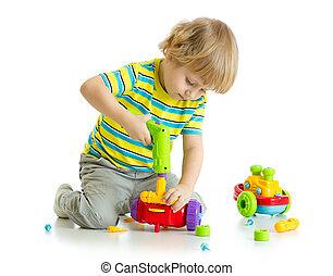 かわいい, 子が遊ぶ, ∥で∥, 教育, 隔離された, 白, バックグラウンド。