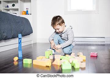 かわいい, 子が遊ぶ, ∥で∥, 色, おもちゃ, 屋内