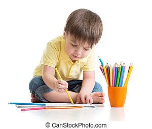 かわいい, 子供司厨員, 図画, ∥で∥, 鉛筆, 中に, 幼稚園, 隔離された