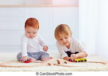 かわいい, 子供, おもちゃ, 家, 鉄道, 遊び, 道