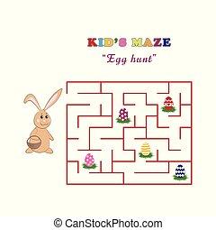 かわいい, 子供, イースター, 捜索, rabbit., 迷路, 卵