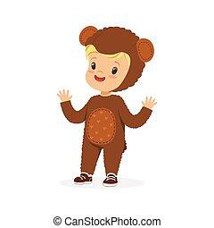 かわいい, 子供, カーニバル, 男の子, 服を着せられる, イラスト, ベクトル, 衣装, 熊, 幸せ