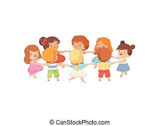 かわいい, 子供, ダンス少女たち, 一緒に, 遊び, 男の子, ベクトル, イラスト, 保有物, 円, 手, 漫画, 幸せ