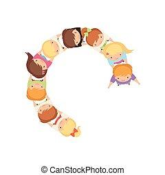 かわいい, 子供, ダンス, 上, 女の子, イラスト, 遊び, 男の子, ベクトル, 一緒に把握, 円, 手, 漫画, 幼稚園, 光景