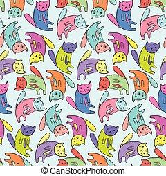 かわいい, 子供, ネコ, カラフルである, パターン