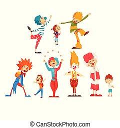 かわいい, 子供, ピエロ, カーニバル, 面白い, セット, サーカス, 女の子, イラスト, ∥あるいは∥, 男の子, ベクトル, birthday, 背景, パーティー, 楽しみ, パフォーマンス, 白, 持つこと, 幸せ