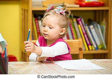かわいい, 子供, 女の子, 図画, ∥で∥, カラフルである, 鉛筆, 中に, 幼稚園, テーブルで, 中に, 幼稚園
