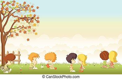 かわいい, 子供, 愛, 漫画