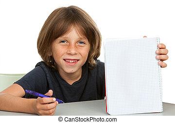 かわいい, 子供, 提示, ノート, ∥で∥, ブランク, コピー, space.