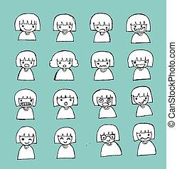 かわいい, 子供, 漫画, 幸せ