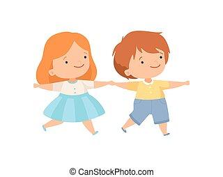 かわいい, 子供, 男の子, 手, 恋人, 一緒に, 持つこと, ベクトル, イラスト, 保有物, 楽しみ, 女の子, 愛らしい, 漫画, 幸せ