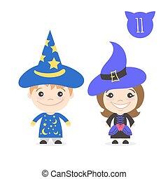 かわいい, 子供, 男の子, 2, イラスト, costume., characters., ベクトル, 魔女, 衣装, 女の子, 手品師, 幸せ
