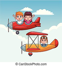 かわいい, 子供, 飛行機, 飛行