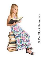 かわいい, 学校本, 女の子, モデル