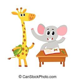かわいい, 学校, 生徒, バックパック, -, 机, キリン, 動物, 象