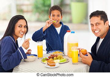 かわいい, 家族, ∥(彼・それ)ら∥, indian, 朝食, 楽しむ