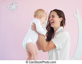 かわいい, 家, 保有物, 母, 赤ん坊, 肖像画, 幸せ