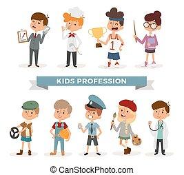 かわいい, 専門職, セット, 漫画, 子供