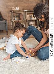 かわいい, 小さい母, おもちゃ, 家, 女の子, 遊び, 子供
