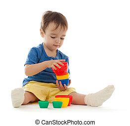 かわいい, 小さい 男の子, ある, 遊び, ∥で∥, カラフルである, カップ, 隔離された, 白