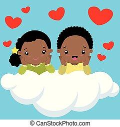 かわいい, 小さい 男の子, バレンタイン, 黒い雲, 女の子, 日, カード