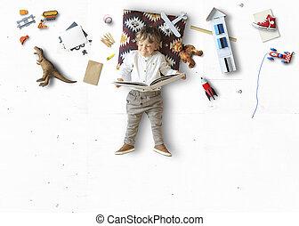 かわいい, 小さい 男の子, 本, 読書, あること