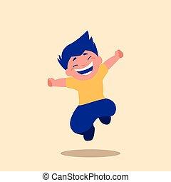 かわいい, 小さい 男の子, 特徴, 跳躍, avatar