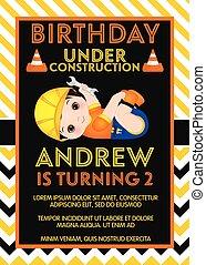 かわいい, 小さい 男の子, birthday, ベクトル, テンプレート, カード